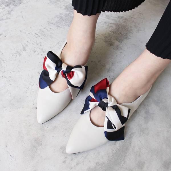 【預購】優雅緞布蝴蝶結低跟鞋-米白