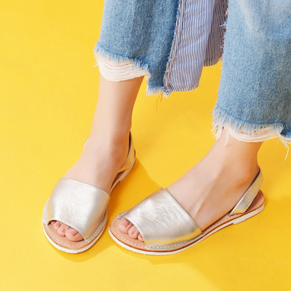【訂製】二代西班牙風全皮底涼鞋-淺金