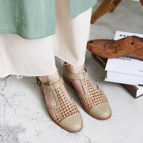 【訂製】T字真皮編織牛津鞋-米