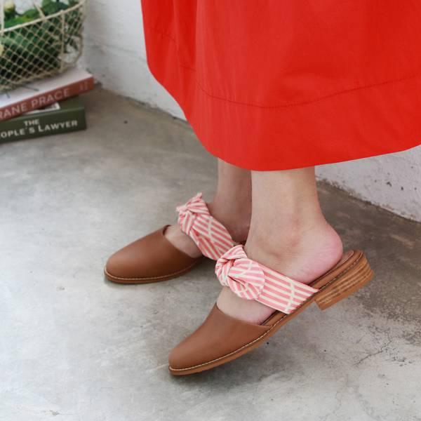 【訂製】異素材蝴蝶結穆勒鞋-粉白線