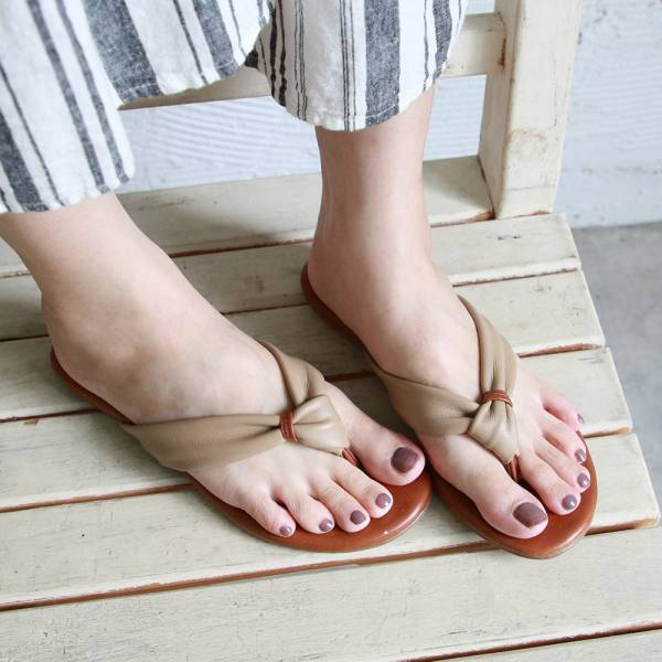 【訂製】全真皮扭結拖鞋-米