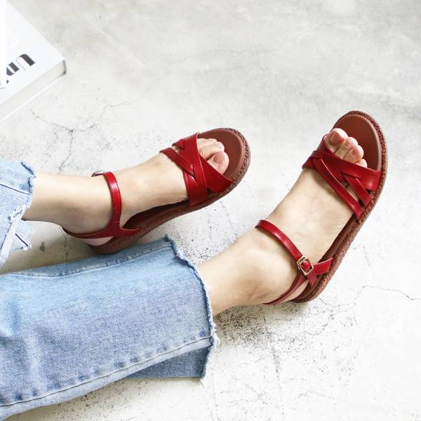 【訂製】Simple+切口造型漢堡底涼鞋-紅