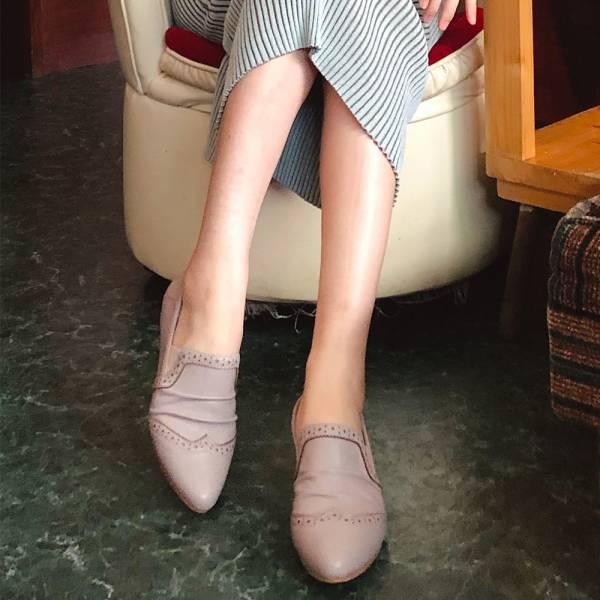 【手工訂製】寬腳版OK!綿羊皮抓皺牛津休閒鞋_莫蘭迪紫