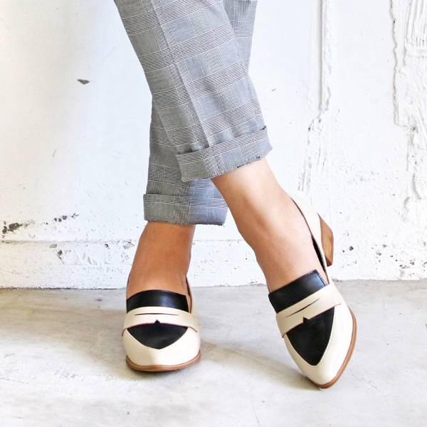 【手工訂製】真皮拼接俐落造型樂福鞋_米白