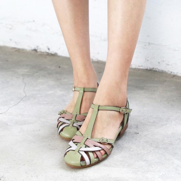【訂製】手工編織真皮涼鞋-淺綠