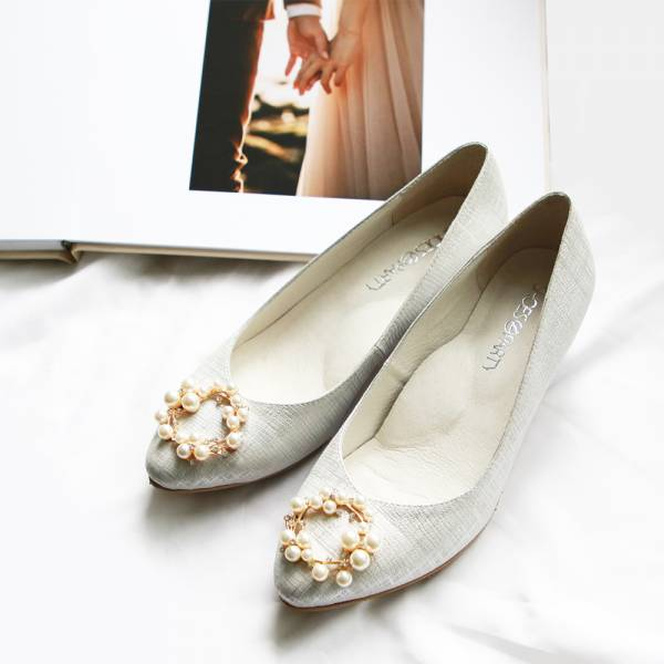 【訂製】珍珠扣羊皮婚鞋-銀