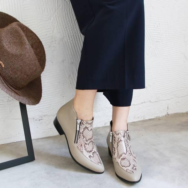【訂製】雙拉鍊率性羊皮短踝靴-淺灰