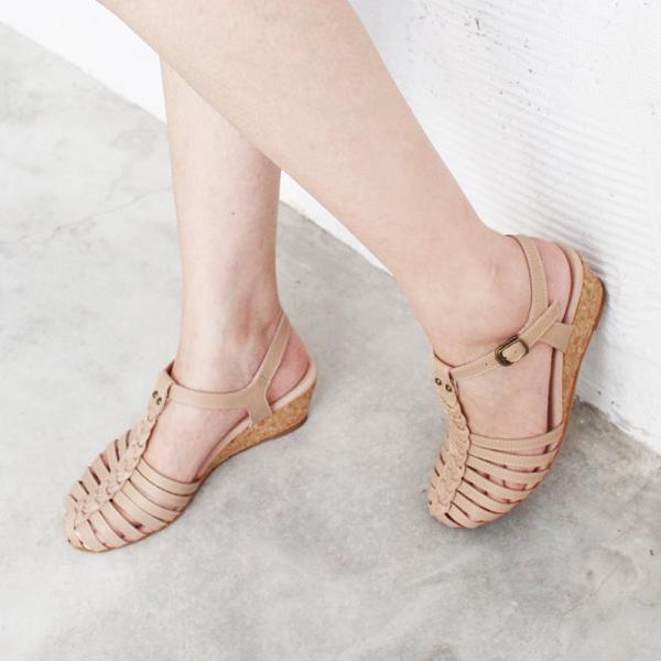 【訂製】真皮手工編織楔型涼鞋 - 米