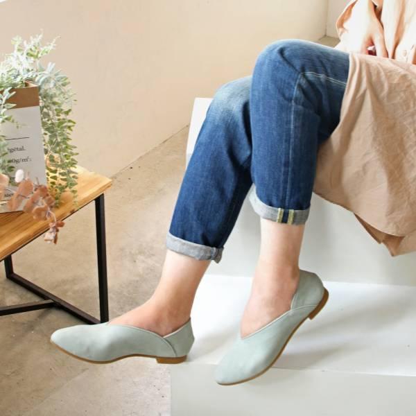 【預購】世界系列_日本製Recipe小腳效果V型微尖便鞋_薄荷綠