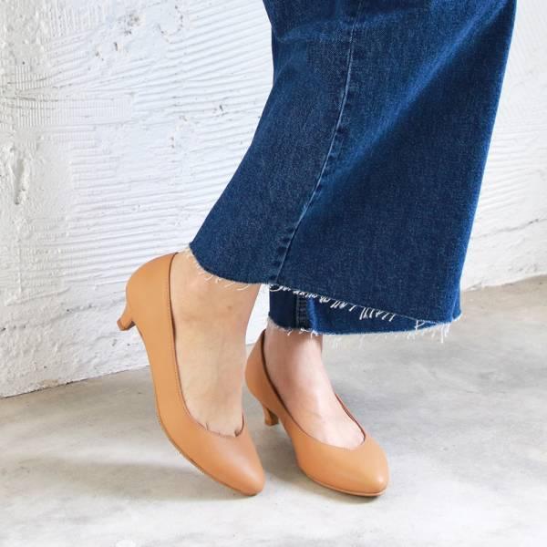 【訂製】大人的素色真皮細跟鞋-深米