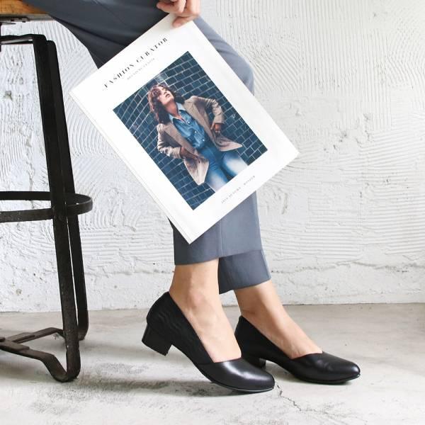 【手工訂製】後踵防磨設計_前V側V修飾腳型通勤低跟鞋_黑