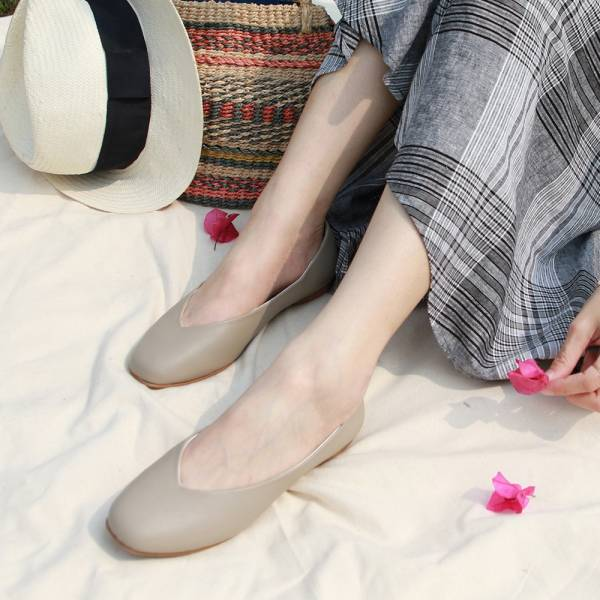 【訂製】小方頭素面綿羊皮平底鞋-灰