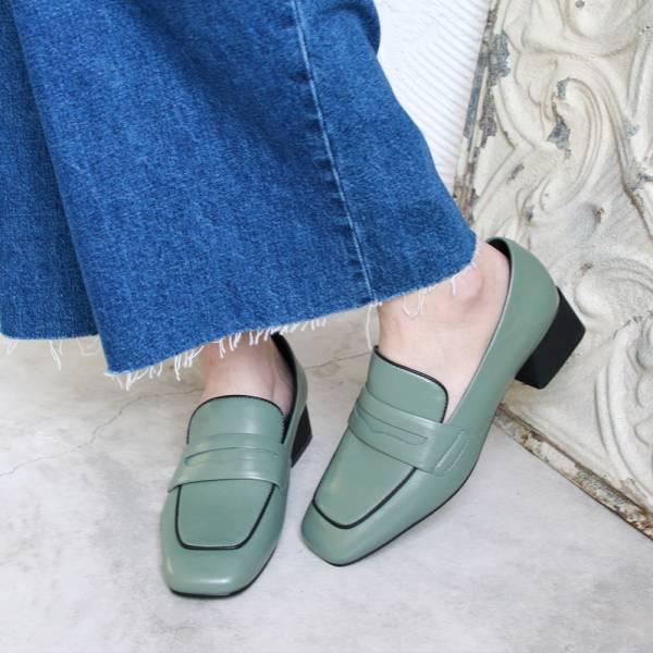 【現貨】世界系列-方頭真皮樂福鞋-墨綠