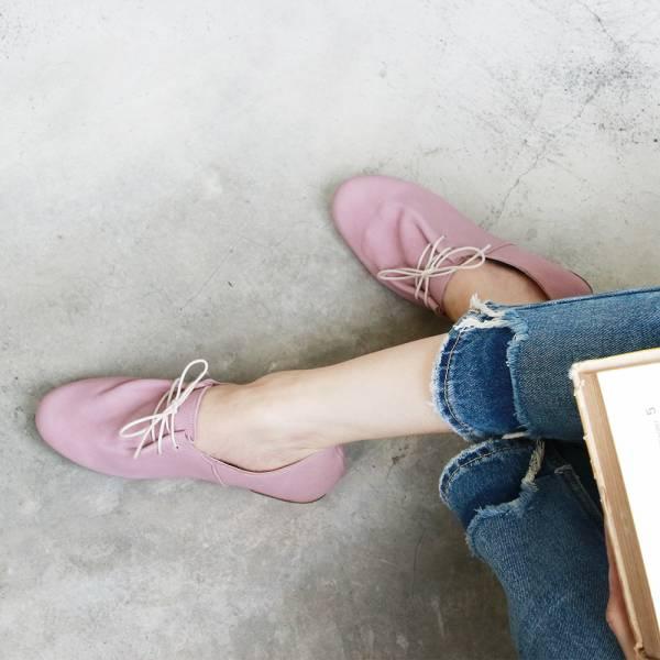【訂製】羊皮綁帶休閒鞋-粉色