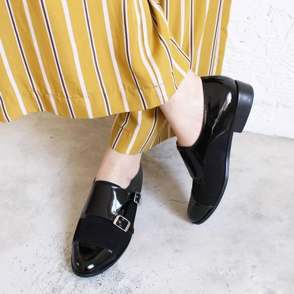 【訂製】英倫風拼接孟克鞋-黑