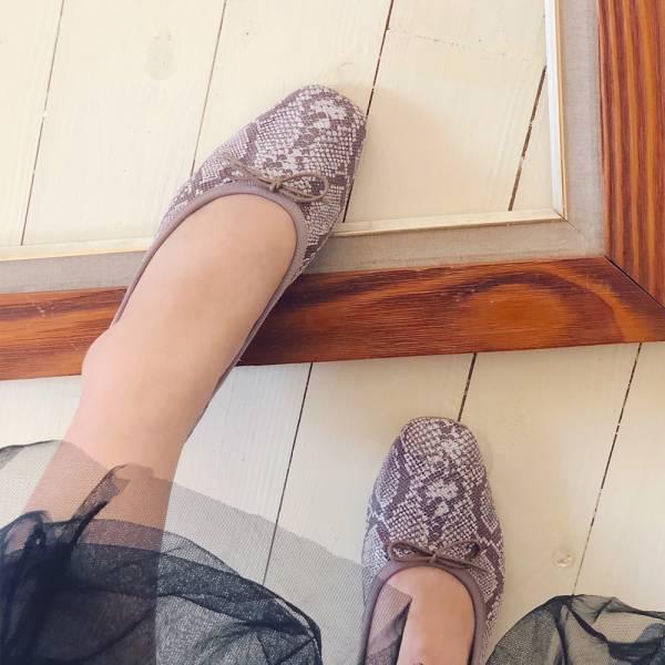 預購【日本製】Recipe方頭真皮芭蕾舞鞋-蛇紋