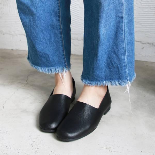 預購【日本製】Recipe方頭L型真皮便鞋-黑