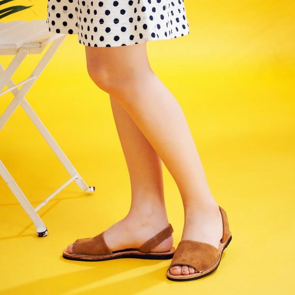 【訂製】二代西班牙風全皮底涼鞋-駝