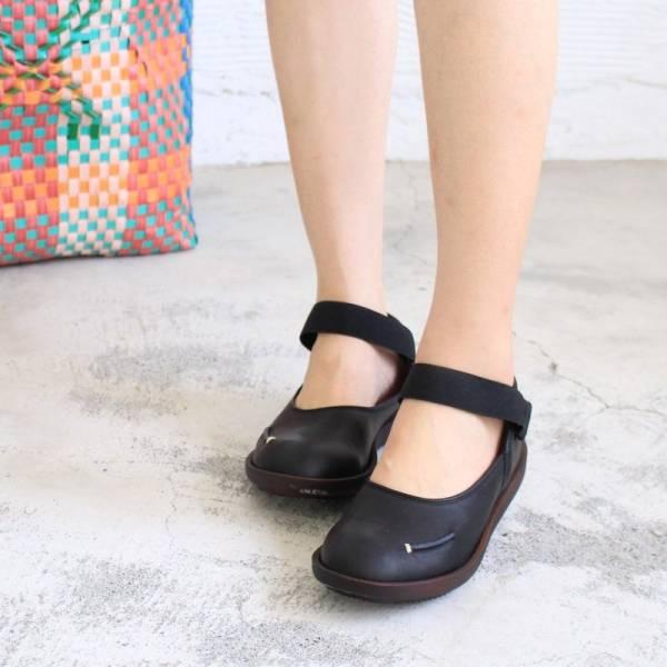 現貨【日本製】D'knot柔軟真皮輕量鬆緊帶便鞋-黑