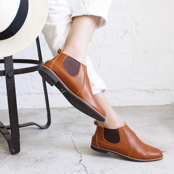 【日本製_絕版現貨】側鬆緊帶小尖頭真皮短靴-駝