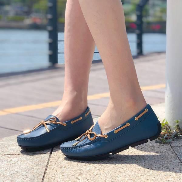 【訂製】蝴蝶結樂福休閒鞋-深藍