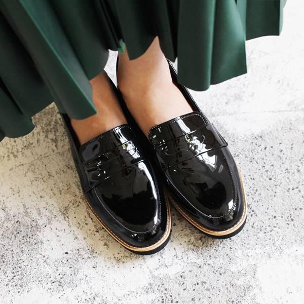 現貨【日本製】輕量厚底樂福鞋-鏡面黑(可退不可換)
