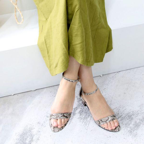 【手工訂製】安定鞋跟細一字帶中跟鞋_蛇紋