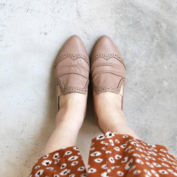【訂製】寬腳版OK!軟牛皮抓皺牛津休閒鞋-藕粉