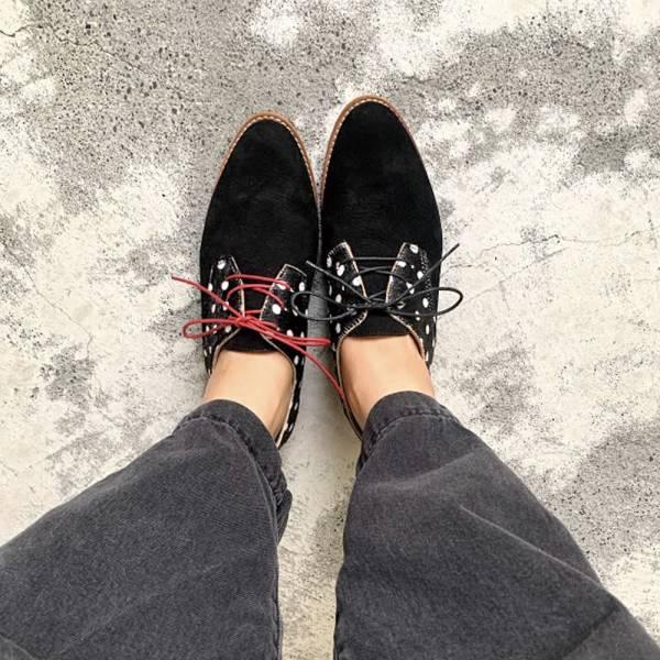 【手工訂製】改版款_腳型更修長經典德比鞋_黑圓點