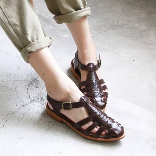 【手工訂製】真皮手工編織涼鞋_深棕