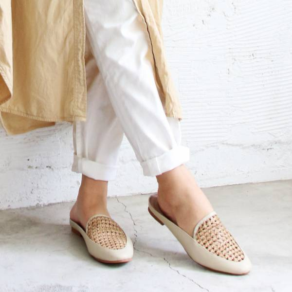 【手工訂製】一套就走,真皮手工編織穆勒鞋_米白