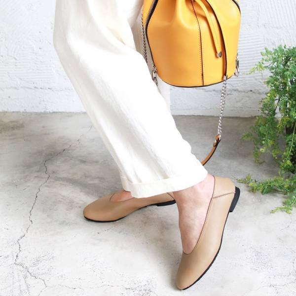 【訂製】2穿之腳變小了,復古深口軟羊皮便鞋-米