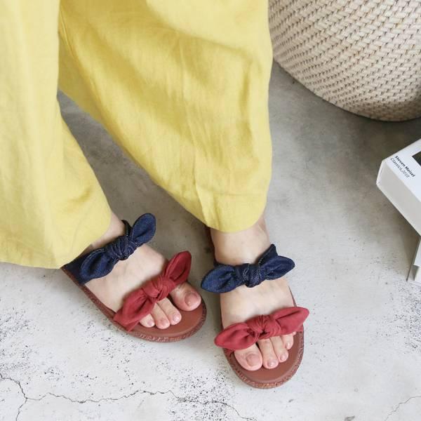 【訂製】Simple+雙蝴蝶結漢堡底拖鞋-深藍