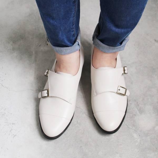 【訂製】英倫風拼接孟克鞋-米白