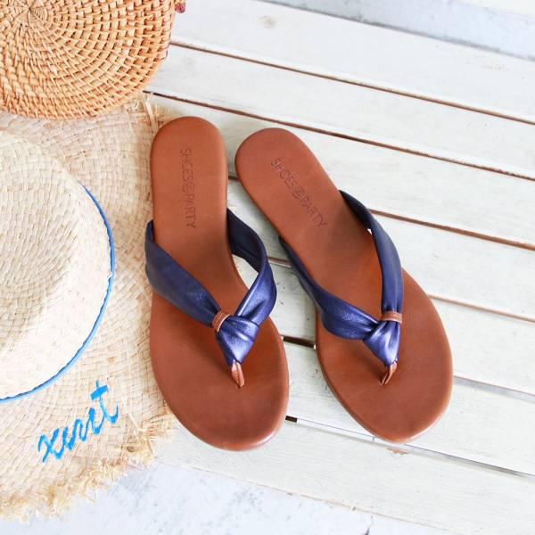 【訂製】全真皮扭結拖鞋-寶藍