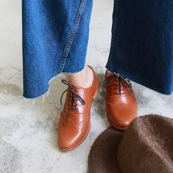 【訂製】外尖內圓/英倫風綁帶真皮牛津鞋-駝