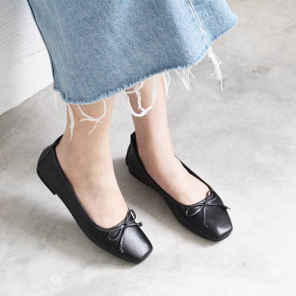 【預購】氣質小方頭芭蕾舞鞋-黑