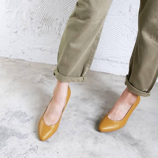 【訂製】大人的素色真皮細跟鞋-芥黃