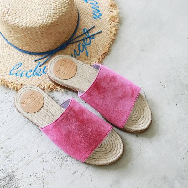 【預購】日本製Recipe全片牛麂皮麻條拖鞋-桃紅