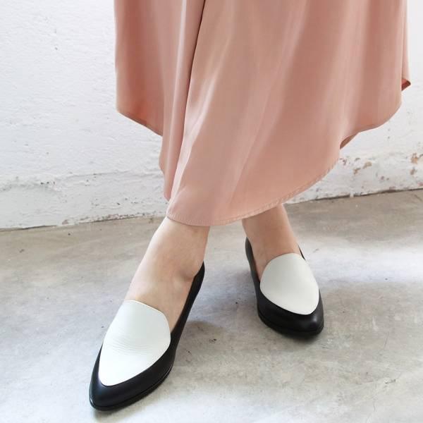 【訂製】真皮配色復古爵士鞋-黑*白