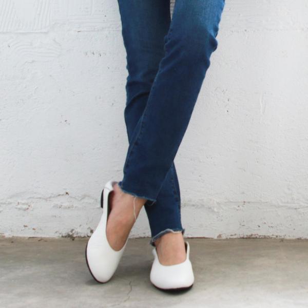 【訂製】2穿之腳變小了,復古深口軟羊皮便鞋-白