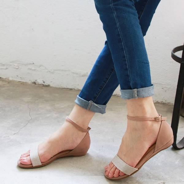 【訂製】小坡跟一字帶涼鞋-銀