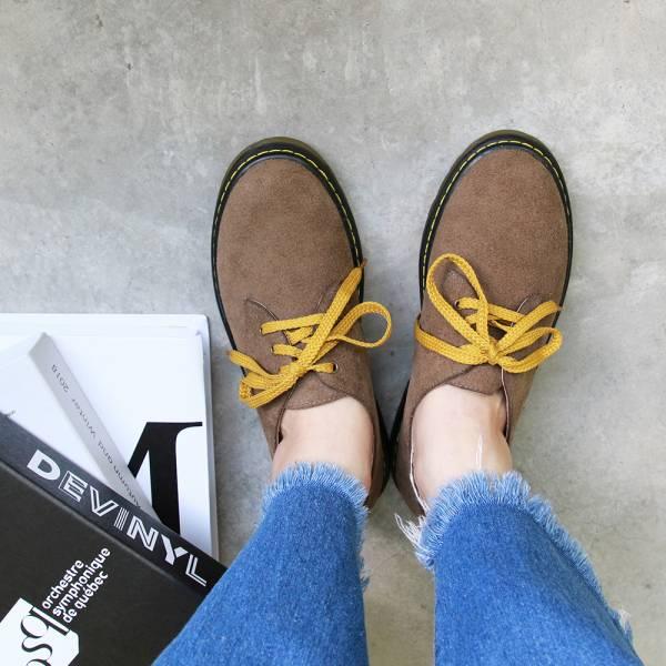 【訂製】寬腳版OK!全真皮厚底綁帶鞋-復古灰