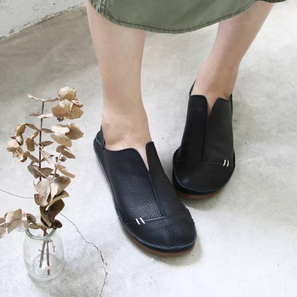 【高雄快閃_優惠價現貨】世界系列_日本製D'knot柔軟植鞣皮2穿精靈V口休閒鞋-黑