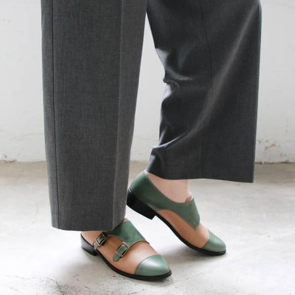 【訂製】英倫風拼接孟克鞋-綠米