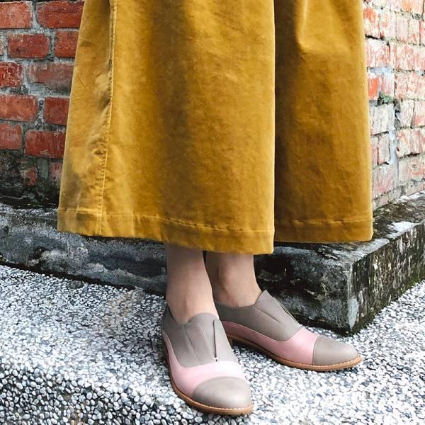 【訂製】簡約真皮復古紳士鞋-淺灰