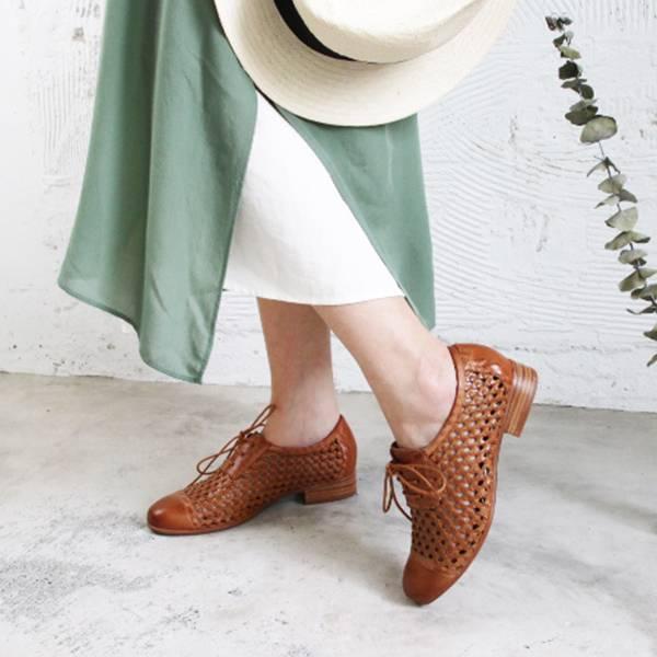 【現貨】世界系列ˍ真皮手工編織綁帶紳士鞋-駝