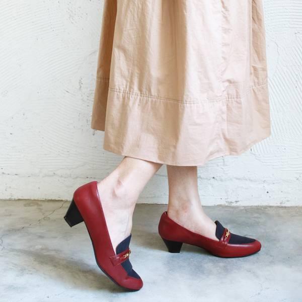 【訂製】飾扣真皮樂福跟鞋-酒紅