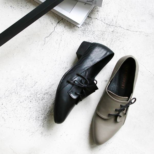 【訂製】斜綁帶小V口踝靴-灰