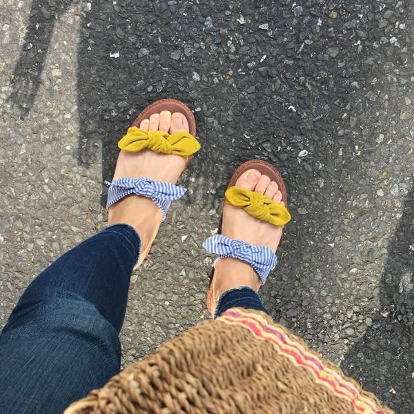 【訂製】Simple+雙蝴蝶結漢堡底拖鞋-黃